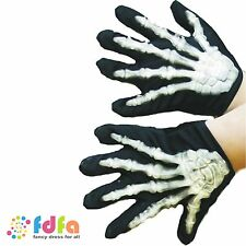 KIDS BLACK SKELETON GLOVES 3D - childs halloween boys girls fancy dress costume