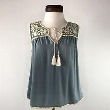 THML Blue Ivory Yellow Embroidery Boho Sleeveless Top Shirt  |  Womens Medium