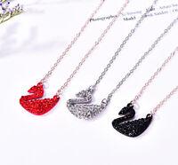 Schwan Halskette mit funkelnden Kristallen Anhänger Rot Silber Schwarz Strass