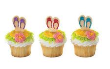 Summer Flip Flop Sandals Beach cupcake picks (24) favor cake topper 2 dozen