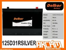 DELKOR BATTERY - PREMIUM SILVER 125D31R CCA 760 A 95 AH SAE RHP MAINTENANCE FREE