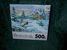 CHRISTMAS 500 PIECE PUZZLE-TOUCH OF FROST-WINTER MEMORIES W/CARDINAL-NEW