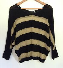 MXE LADIES SHEER KNIT GOLD BLACK KNIT TOP SIZE M 10 12