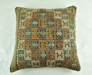 Kilim Pillow Cover 24x24 in Handmade Traditional Oushak Rug Cushion Lumbar 3063