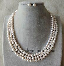 schöne 2 Reihe 2-3mm kultiviert Weiß Barock Süßwasser Perlen armband 8 zoll
