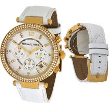 100% New Michael Kors Parker Swarovski 39mm White Leather Ladies Watch MK2290