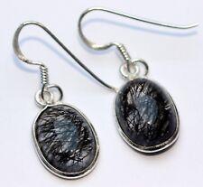 natural Cuarzo Turmalina Pendientes en de plata 925 , joya, Gema Ovalo