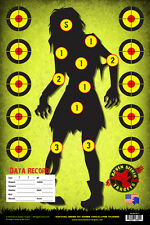 PAPER TARGETS: ZOMBIE GREEN: 9mm; 38 cal; 45 cal; .308; AK-47; AR-15: 15 Pack
