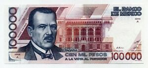 Mexico 100000 Pesos 4-1-1988 Pick 94.a UNCIRCULATED Serie A Serial AA01852-
