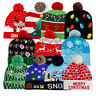 Christmas Hat with 6 LED Light Knitted Xmas Beanie Cap Novelty Unisex Winter Hat