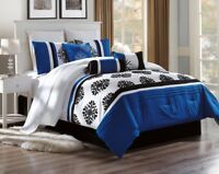 NEW BED COLLECTION 3PC EMBROIDERY DUVET COMFORTER BED COVER SET W/ PILLOW SHAMS