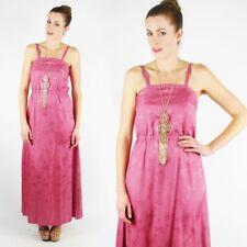 Vtg 70s Disco Boho Hippie Pink Chinese Asian Brocade Floral Print Maxi Dress S