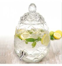 6l Pineapple Beverage Dispenser Glass Jar Tap Juice Drinks Cocktails Outdoor