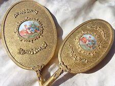 VINTAGE FRENCH PORCELAIN LADY COUPLE GOLD GILT FILIGREE ORMOLU MIRROR BRUSH SET