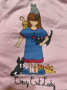 NWOT Crazy Cat Lady Pink Plus Size Nightshirt Sleepshirt
