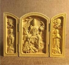 "3.97"" HOT Oriental Vintage Boxwood Handwork Carved Kwan-yin Statue NR"