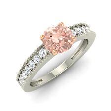 14K White Gold 0.87ct Real Morganite & Certified Natural Diamond Engagement Ring