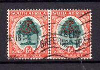 South Africa 1937 6d green vermillion fine used pair SG61 WS19816