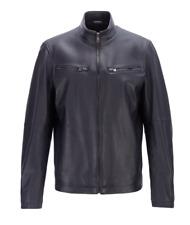 Hugo Boss Lederjacke Noklin Leather Jacket Gr 48 blau blue NEW & Original
