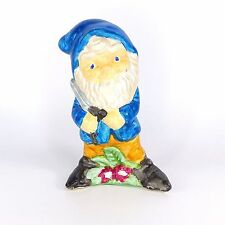 Garden Gnome Dwarf Figurine Blue Pruning Shears Hobbyist Ceramic Collectible