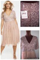 bnwt MAYA CURVE pink MIDI DRESS beaded wrap flattering wedding plus size UK 26