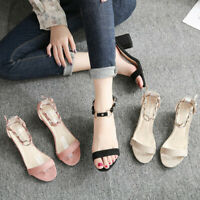 Women's Ladies Summer Casual Solid Square Heel Mid Heels Shoes Open Toe Sandals