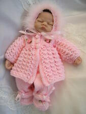 "DOLLS KNITTING PATTERN MATINEE COAT SET FOR 10"" DOLLS PREMATURE BABY"