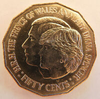 1981 Royal Wedding Prince of Wales and Lady Diana Spencer Australian fifty cent