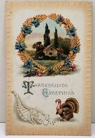 Thanksgiving Greetings Embossed 1910 to Frankstown Pa Postcard D12