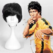 Bruce Lee Cosplay Wig Handsome Men'S Natural Short Black Silky Hair Full Wigs