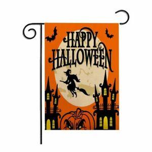 Linen Halloween Garden Flag Double-Sided Pumpkin  Decor Banner Yard Hanging Flag