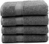 "Premium Bamboo Cotton Bath Towels, Ultra Absorbent 30"" X 52"" (Grey), 4 piece set"