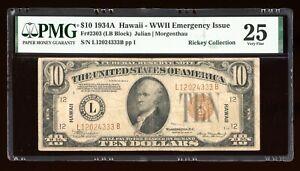 DBR 1934-A $10 FRN Hawaii LB Block Fr. 2303 PMG 25 Serial L12024333B
