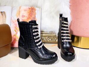 Womens Ankle Boots Block Mid Heel Ladies Zip Diamante Smart Booties Party Shoes