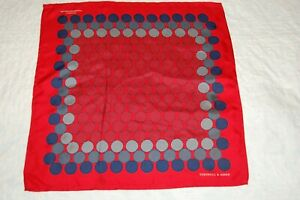 TURNBULL AND ASSER RED AND BLUE SILK  POCKET SQUARE NEW
