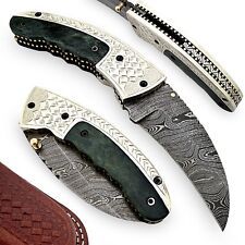 Black Bill Damascus Steel Handcrafted Outdoor Pocket Folding Knife