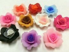 25 Fimo Polymer Clay Rose Flower Fimo Beads 25mm Pink Yellow Red Orange etc