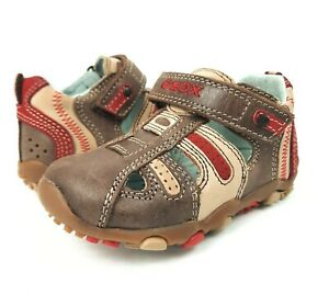 GEOX Shoes Infant Baby Boom Boy First Walker Brown Red Leather 19 EUR 4 US 3 UK