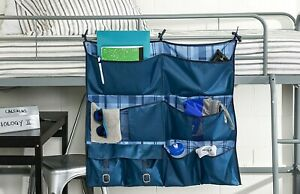 Honey-Can-Do 2-in-1 Bed Frame Dorm Closet Hanging Organizer w/ 8 Pockets - Blue