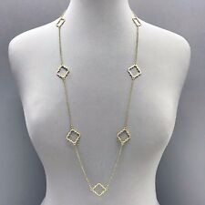 Unique Fashionable Gold Finish Long Cut out Clover Designer Inspired Necklace