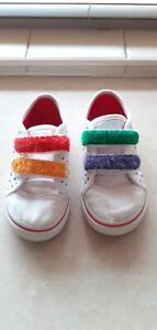 White & Multi Colour Rainbow Children's Vans...UK 7.5 / EUR 24.5