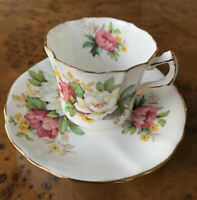 Hammersley England Tea Cup and Saucer Peonies Floral Pattern Gold Trim