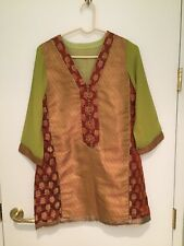 SILK Brocade TOP BLOUSE Red And Green WOMEN TUNIC Size - L