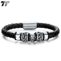 TT Leather 316L S.Steel Magnet Buckle Skull Bead Bracelet Wristband (BR187) NEW