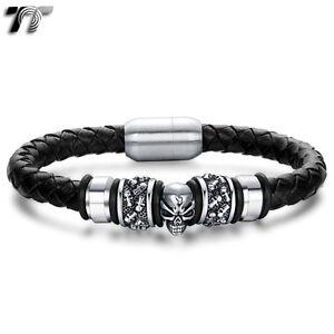 TT Leather 316L S.Steel Magnet Buckle Skull Bead Bracelet Wristband (BR187) NEW