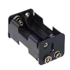 1Pcs 4 X AA Battery Holder 6V DC Power Case W/ 9V Clip Black Plastic TW