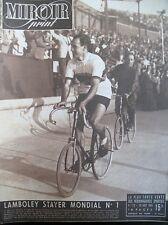 CYCLISME AMSTERDAM LAMBOLEY CHAMPION DU MONDE STAYER N° 119 MIROIR SPRINT 1948