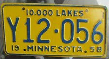 Minnesota 1958 License Plate # Y12-056