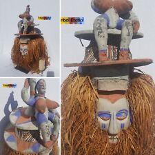 Bayaka Yaka Adulthood Initiation Mask Sculpture Statue Figure Tribal African Art