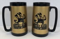 Notre Dame Fighting Irish Set Of 2 Vintage Tall Thermo Serv Cups Leprechaun Gold